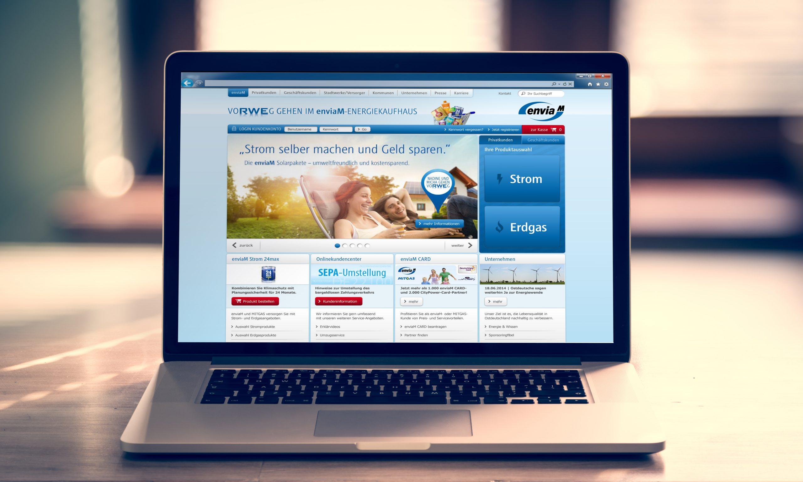 enviaM-Webdesign von Bosbach, Homepage