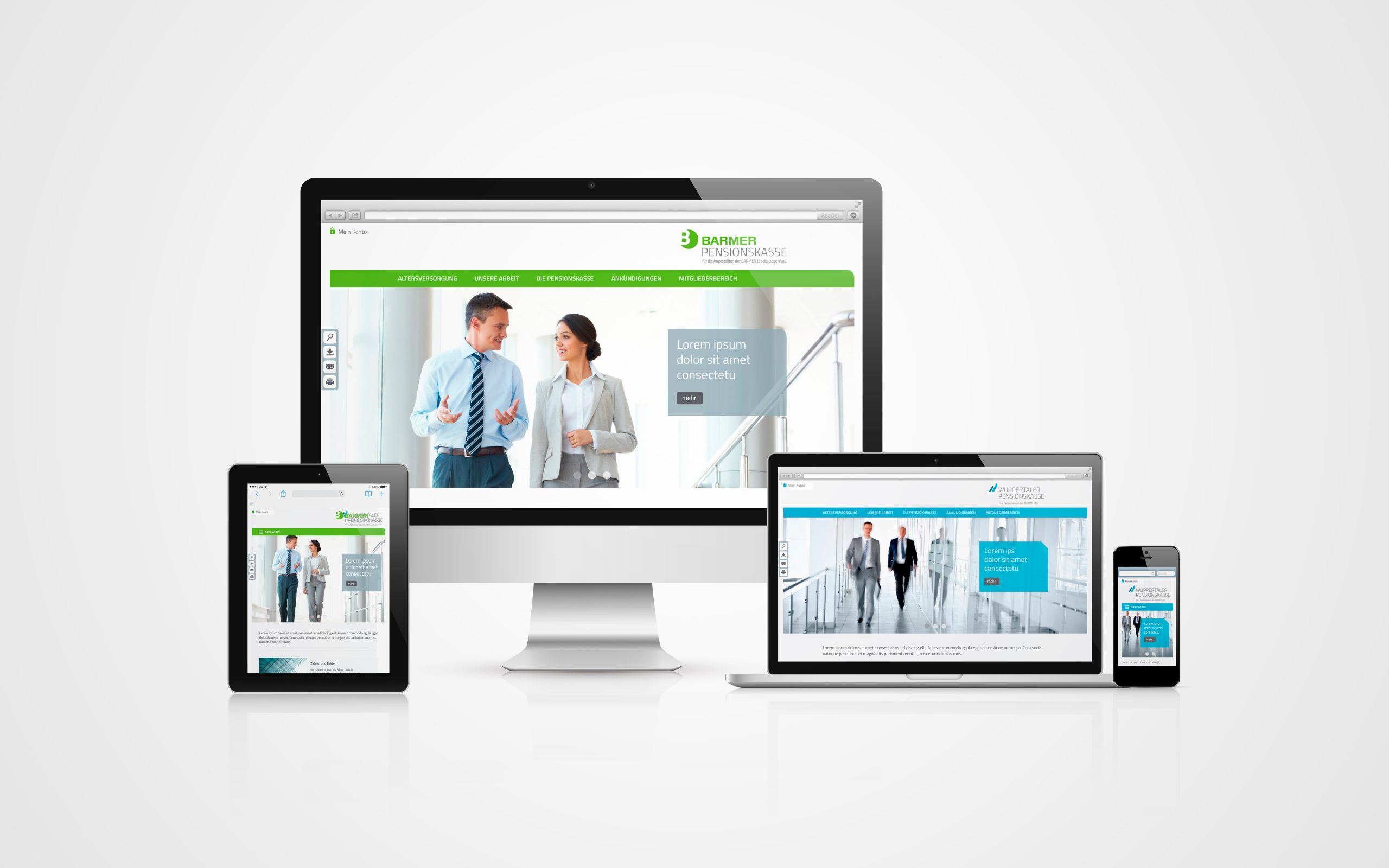 Barmer Pensionskasse: Webdesign von Bosbach, Typo3-Portale