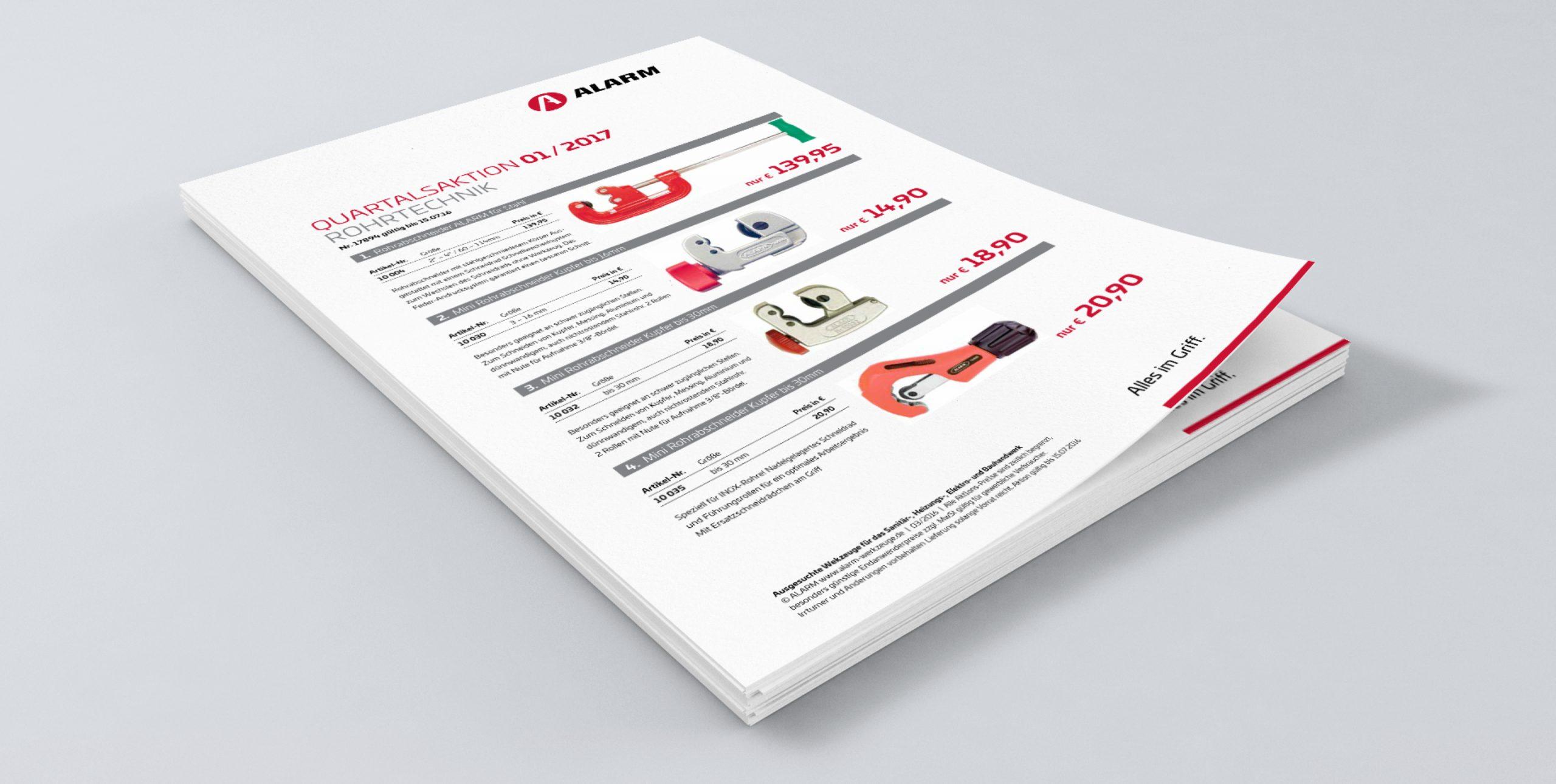 Alarm Werkzeuge: Corporate Design von Bosbach, Aktionsflyer