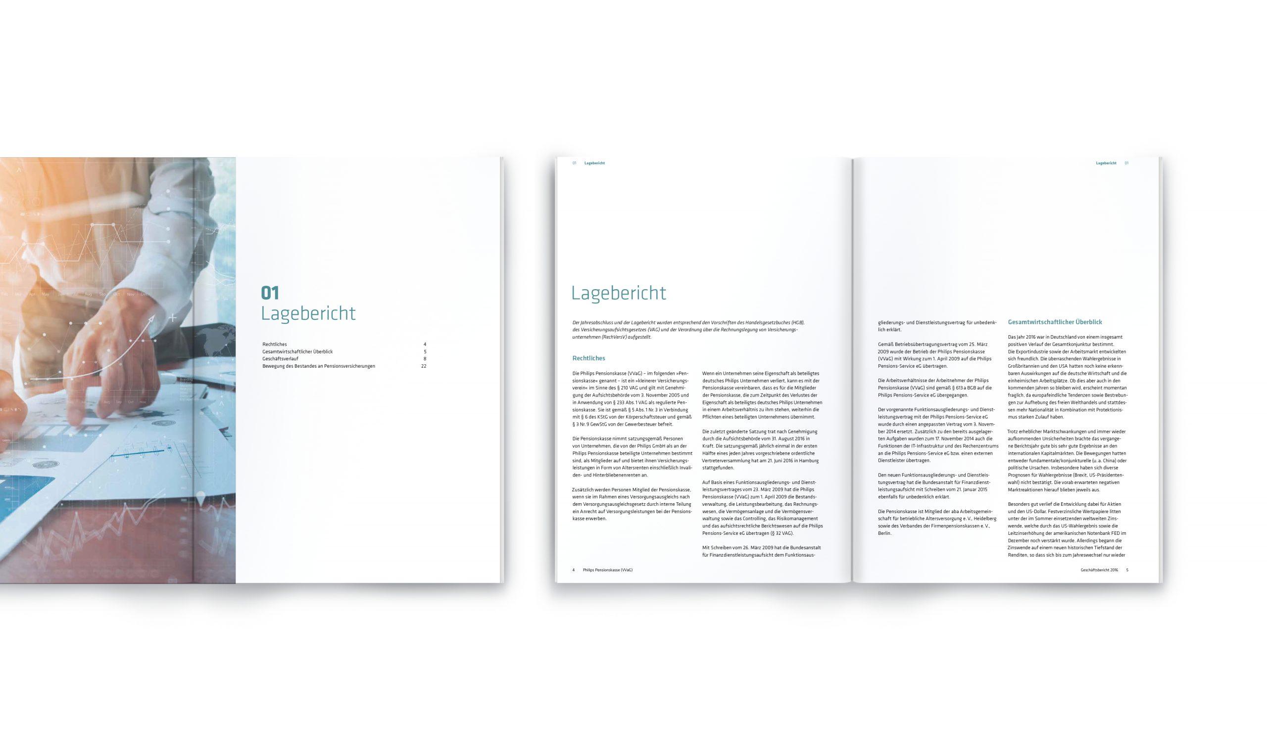 Philips Pensionskasse: CD-Entwicklung von Bosbach, Geschäftsberichte-Design