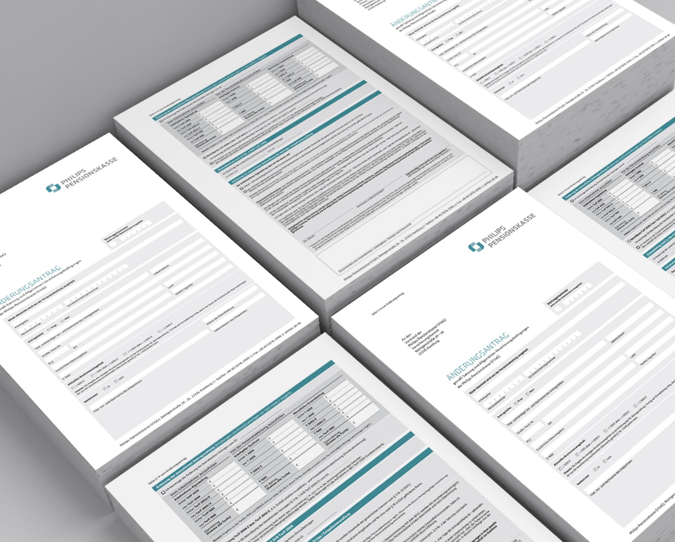 Philips Pensionskasse: CD-Entwicklung von Bosbach, Formular-Design