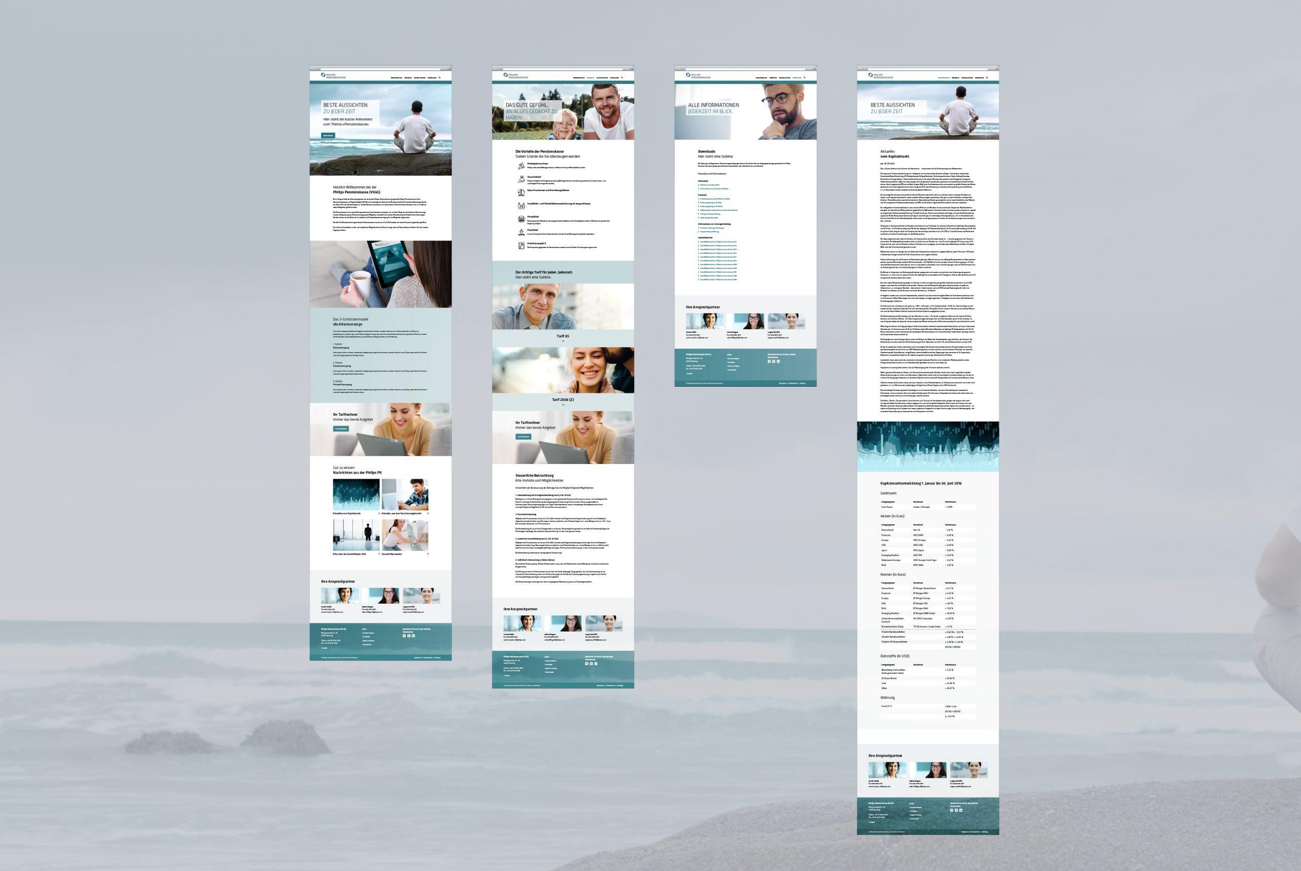 Philips Pensionskasse: Webdesign von Bosbach, Screendesigns